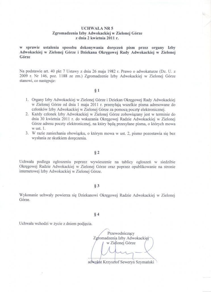 Uchwała w sprawie ustalenia sposobu dokonywania doręczeń pism przez organy Izby Adwokackiej w Zielonej Górze_i_Dziekana_Okregowej_Rady_Adwokackiej_w_Zielonej_Gorze