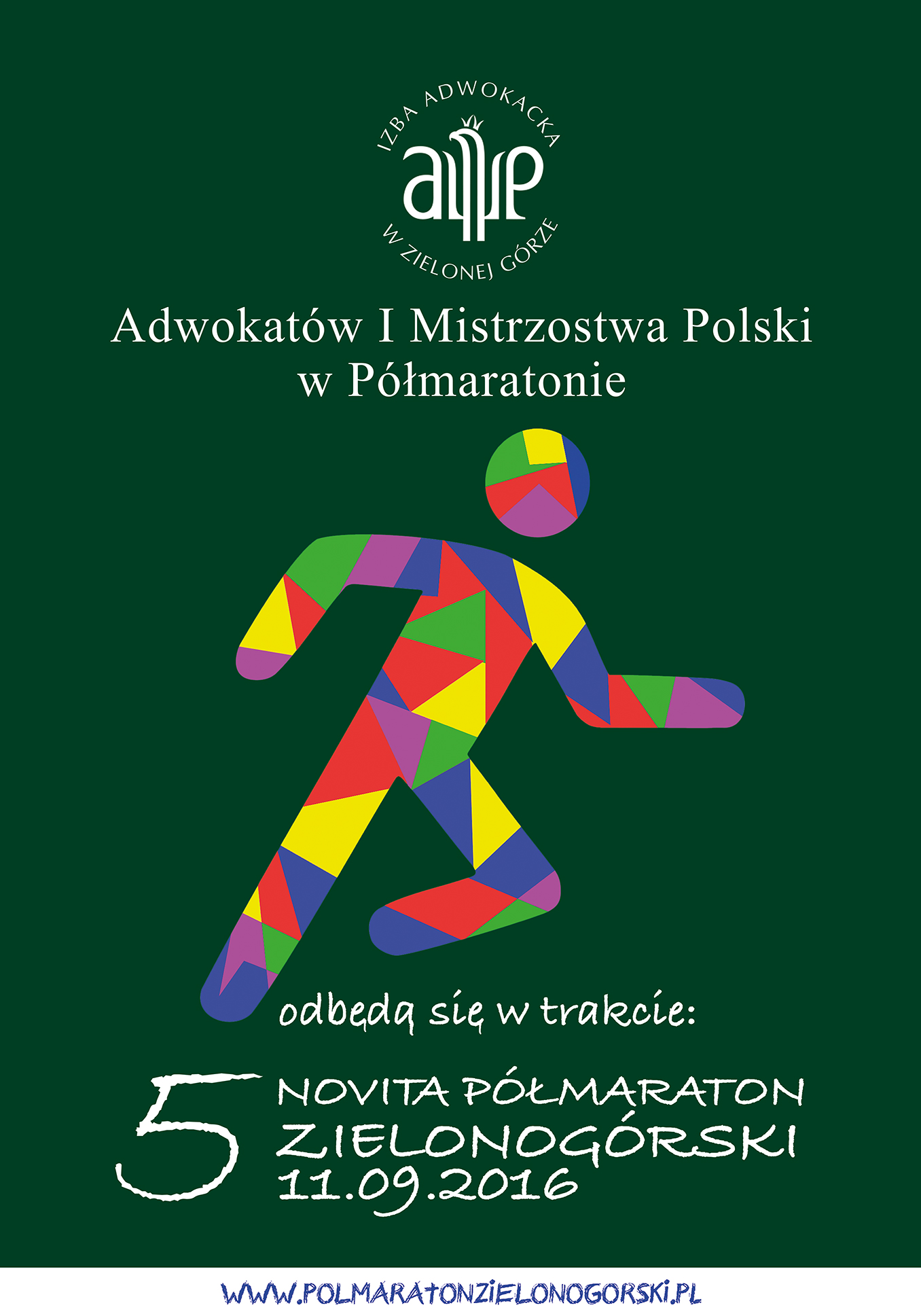 Adwokatów I Mistrzostwa w Półmaratonie plakat pion